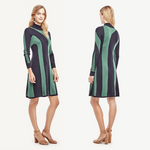 NWT Ann Taylor M Stripes Mock Neck Long Sleeve Sweater Dress