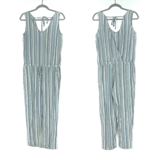 Cloth & Stone S Blue Stripe V Neck Jumpsuit