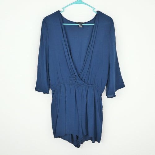 SALE NWOT Forever 21 Blue Long Sleeves Romper Size L