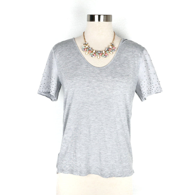 SALE Ann Taylor Grey Faux Leather Sleeve Blouse Size S