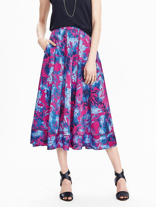 NWT Banana Republic 12 Floral Blue Pink A Line Skirt
