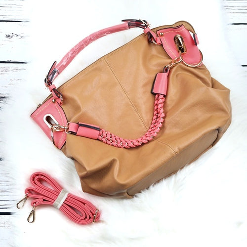 NWOT Beautiful Tan & Coral Bag
