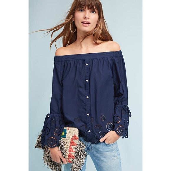 Isabella Sinclair XS Blue Eyelet Off Shoulder Bell Sleeve Top