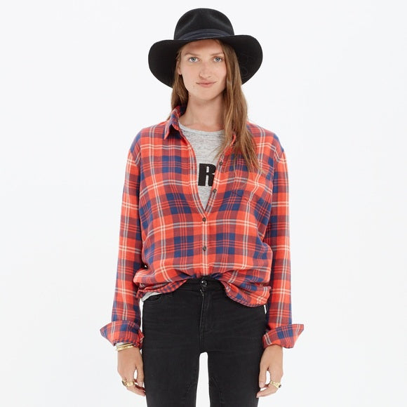 Madewell Flannel Red Plaid Long Sleeve Shirt Size XXS