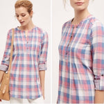 Holding Horses Plaid Half Button Red Blue Shirt 8
