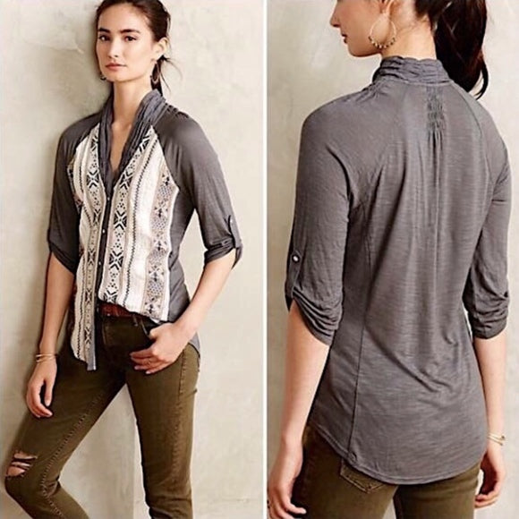 TINY Anthropologie Gray Embroidered Lucinda Button Top Size S