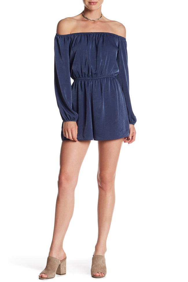 Rokoko by Dazz Blue Off the Shoulder Romper Size M