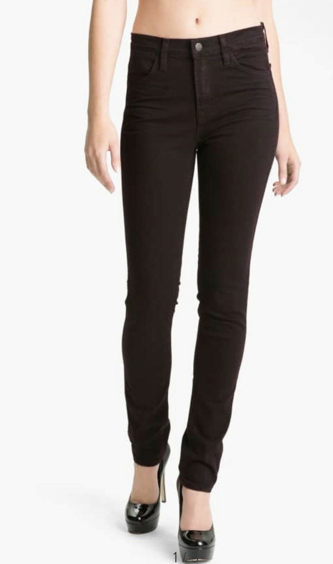 J Brand Noir Red High Rise Skinny Jeans Size 27