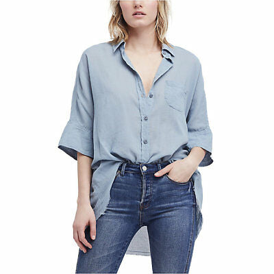 Free People Size S Blue Best Of Me Button Dolman Raw Hem Top