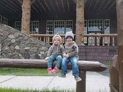 Taiga Tots wool hoodies at Yellowstone Lodge