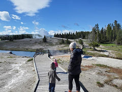 Walking on a boardwalk in Yellowstone