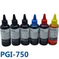 100ML X 6 Bottle PGI750 Printer Ink Refill Ink Kit For Printer For Canon  PIXMA MG6370 /MG7570 Printer Bulk ink Refill Ciss Ink