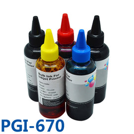 5x100ml PGI670 CLI671 Vivid-Color Printer Ink Refill Kits Dye Bulk Ink For Canon PIXMA MG5760 MG6865 MG5765 Printers Ink pgi-670