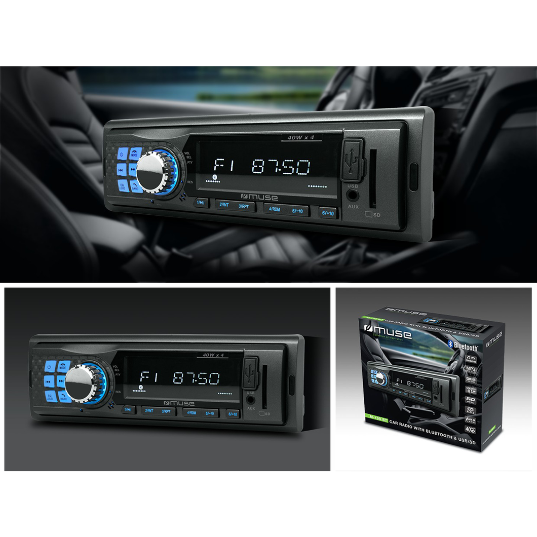HelectroniC Autoradio Bluetooth HD Avec Port USB et Lecteur de Carte SD | MUSE M-199 BT