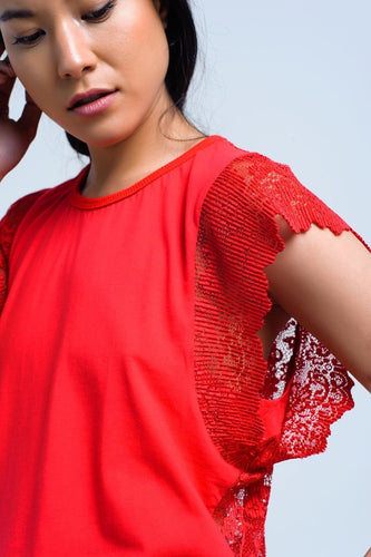 Q2 Red Lace Top