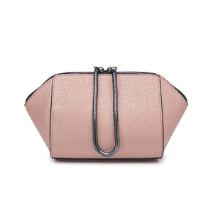 Chic Textured Vegan Leather Nude Metallic Makeup Bag Snake Chain