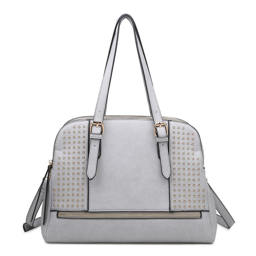 Detailed Buckle Sachel Vegan Leather Handbag Detachable Strap Grey