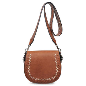 Tan Brown Saddle Crossbody Bag Chic Laser Cut Border