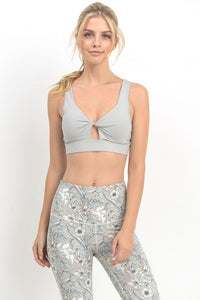 Keyhole Cut-Out Twist Front Cute Grey Sports Bra front