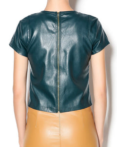 Bishop & Young Vegan Leather Top Teal