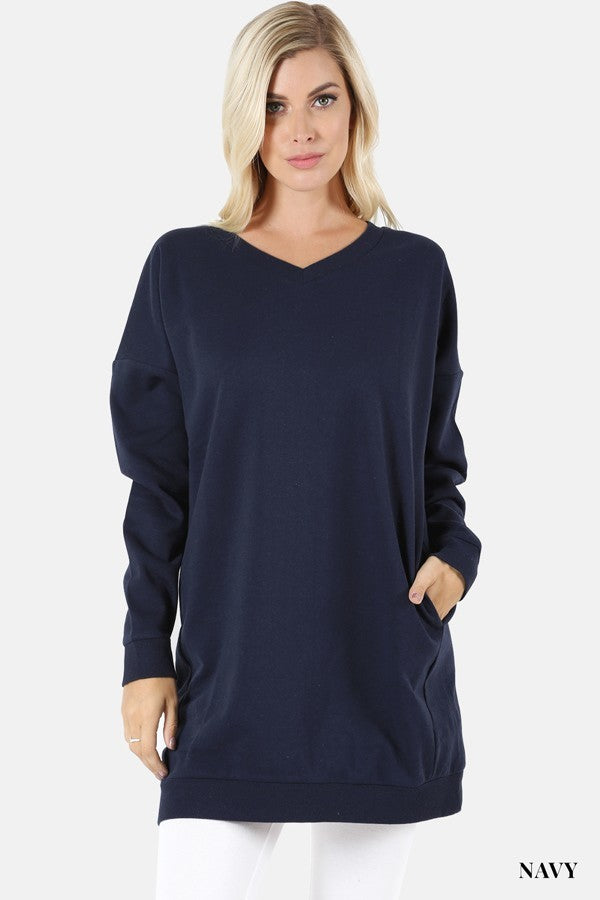Tunic Loose Fit V Neck Long Sweatshirt Navy Blue