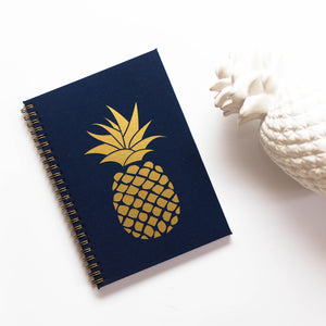 Planner with gold print on cover, quote, pineapple, ananas, summertime sign, gold foil, navy blue cover, mornarsko modra, temno modra, personaliziran rokovnik, personalised planner, custom made, planner, journal, name on cover, ime na platnici, rokovnik, prilagojen rokovnik