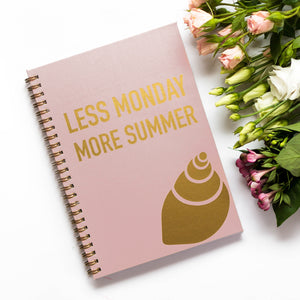 Planner with gold print on cover, less monday more summer, quote, shell, gold foil, nude pink cover, personaliziran rokovnik, personalised planner, custom made, planner, journal, name on cover, ime na platnici, rokovnik, prilagojen rokovnik