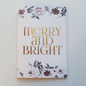 MERRY & BRIGHT FLOWERS Christmas Card