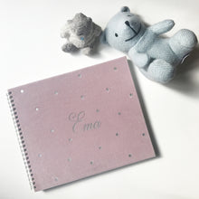 Girl version of baby book with silver name on cover, baby memories book, book, baby book, infant, toddler, child, prvi koraki, first steps, spomini, otroška knjiga, knjigica, personalizirana, custom made, name on cover, ime na platnici