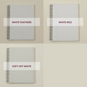 three cover versions of wedding planners - white feathers, white rice and soft off white fabric, tri različice platnic poročnih planerjev v beli barvi
