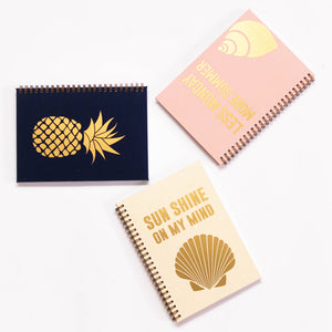 Planner with gold print on cover, less monday more summer, sun shine on my mind, pineapple, ananas, poletje, quote, shell, gold foil, nude pink cover, personaliziran rokovnik, personalised planner, custom made, planner, journal, name on cover, ime na platnici, rokovnik, prilagojen rokovnik