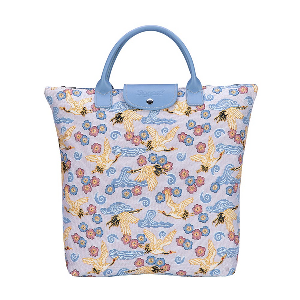 Japanese Crane Foldaway Shopping Bags | Tapestry Foldable Tote Bag | FDAW-CRANE
