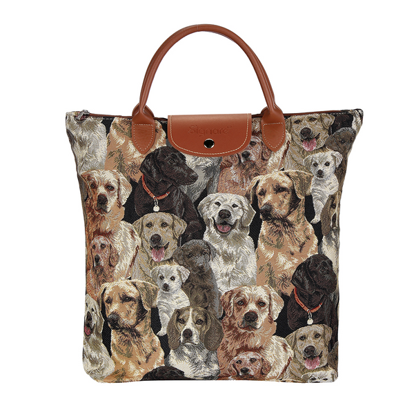 Labrador Foldaway Shopping Bags | Brown Tapestry Foldable Tote Bag | FDAW-LAB