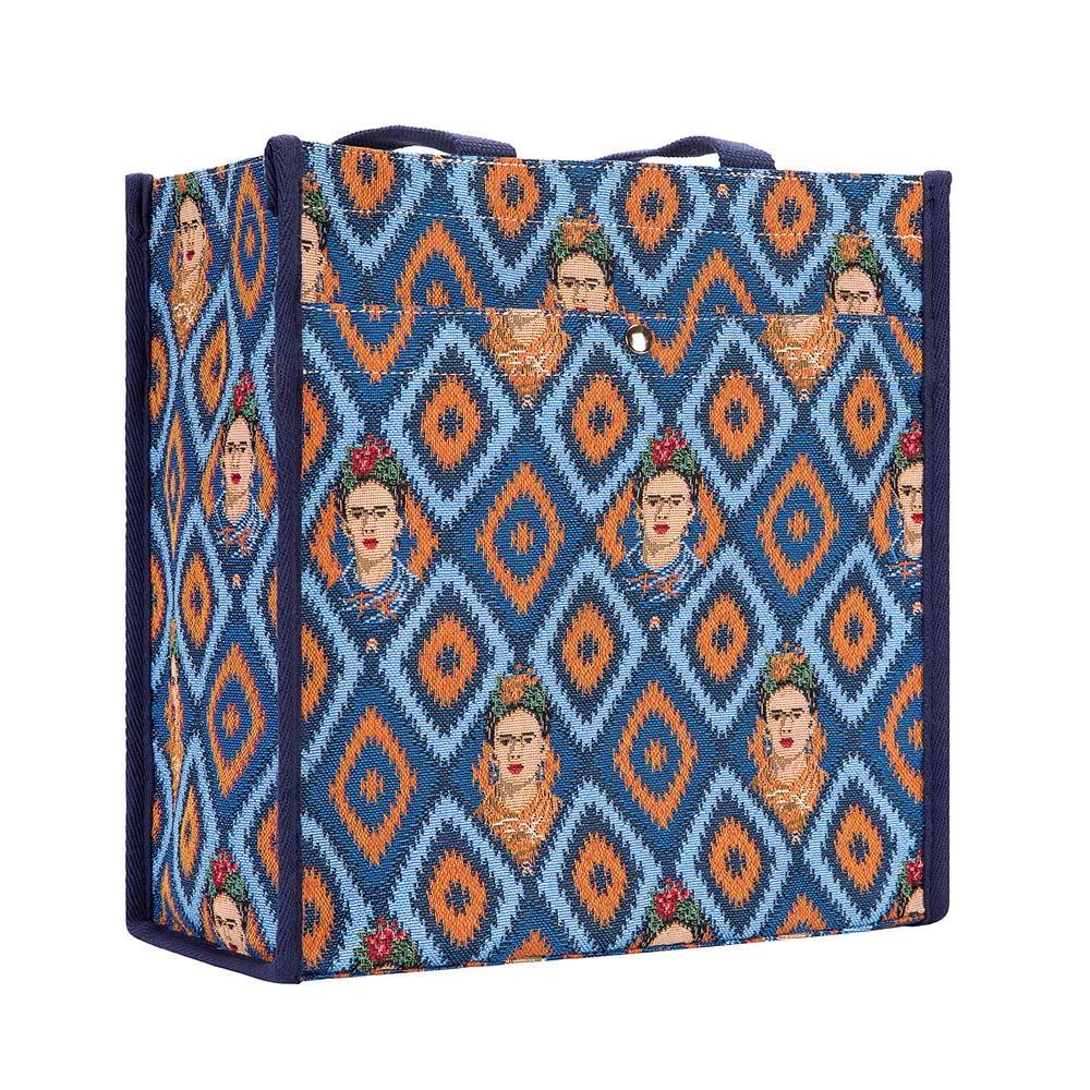Frida Kahlo Icon Shopper Bag | Blue Tapestry Foldable Tote | SHOP-FKICON