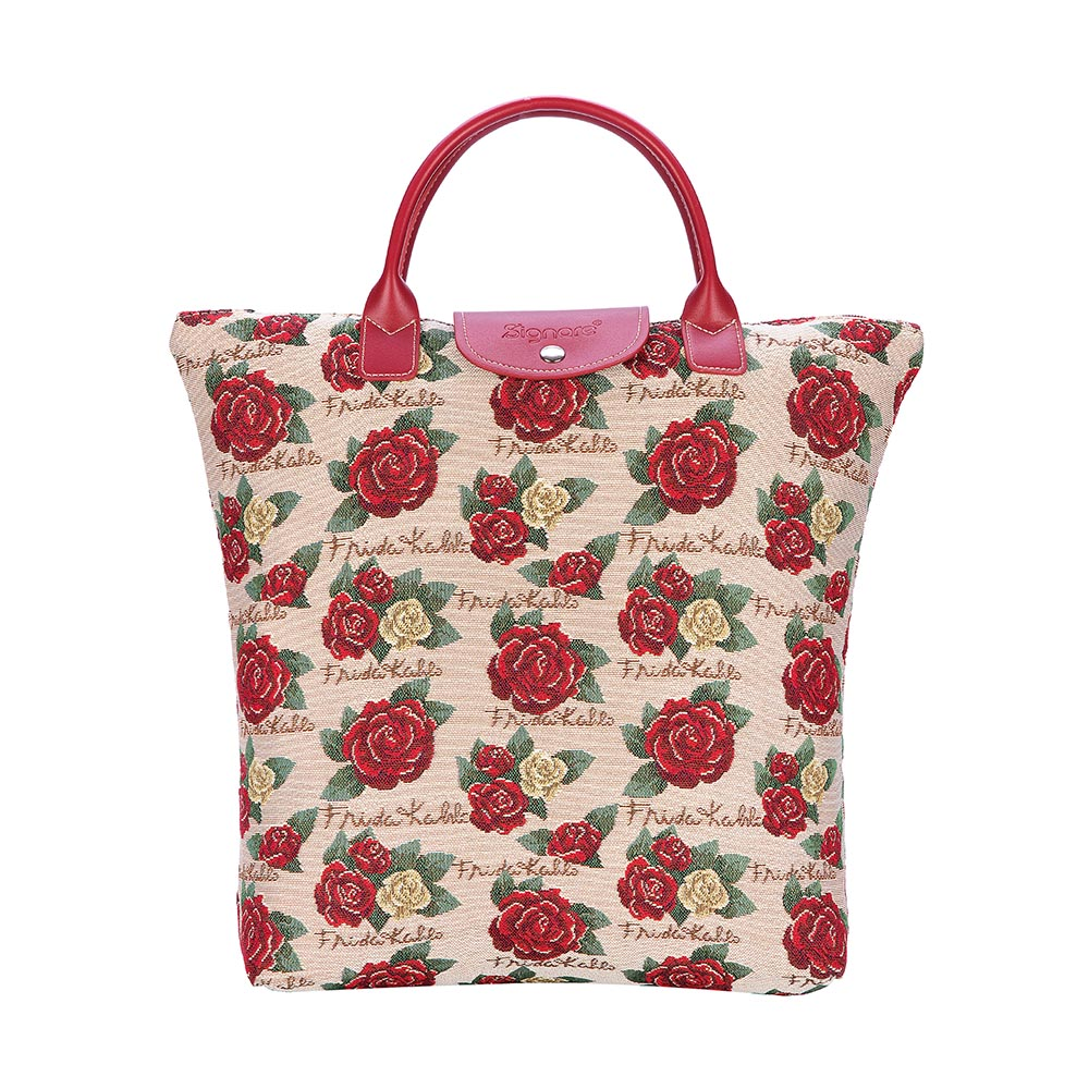 Frida Kahlo Rose Foldaway Shopping Bags | Foldable Tote Bag | FDAW-FKROSE