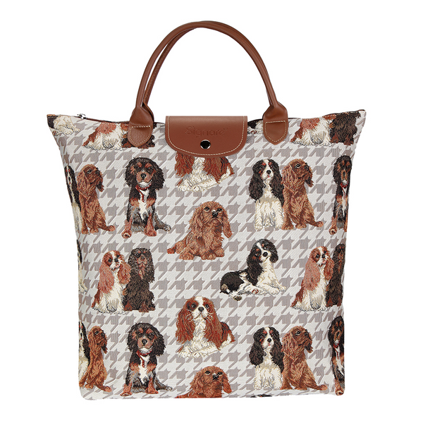 Cavalier Foldaway Shopping Bags | Brown Tapestry Foldable Tote Bag | FDAW-KGCS