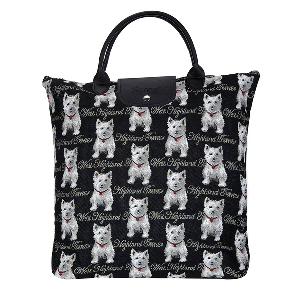Westie Foldaway Shopping Bag | Black Tapestry Foldable Tote Bag | FDAW-WES