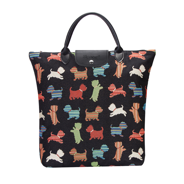 Playful Puppy Foldaway Shopping Bag | Black Tapestry Foldable Tote Bag | FDAW-PUPPY