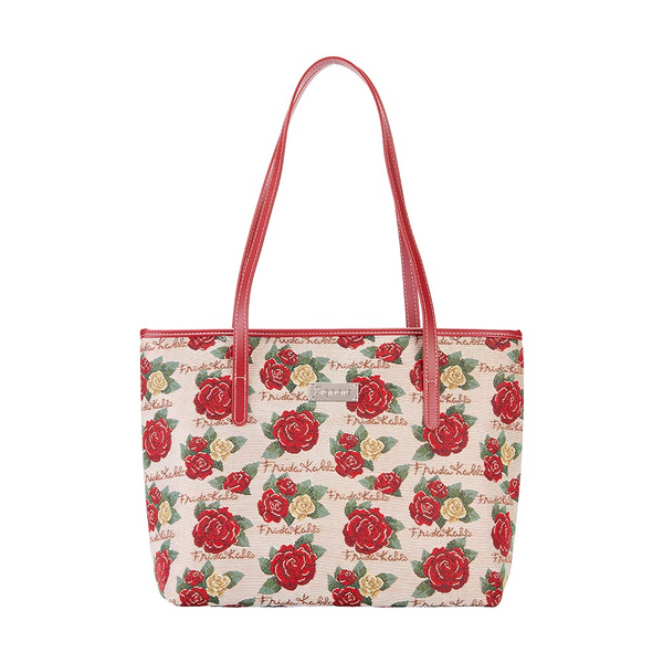 Frida Kahlo Rose Shoulder Tote Bag | Floral College Handbag | COLL-FKROSE