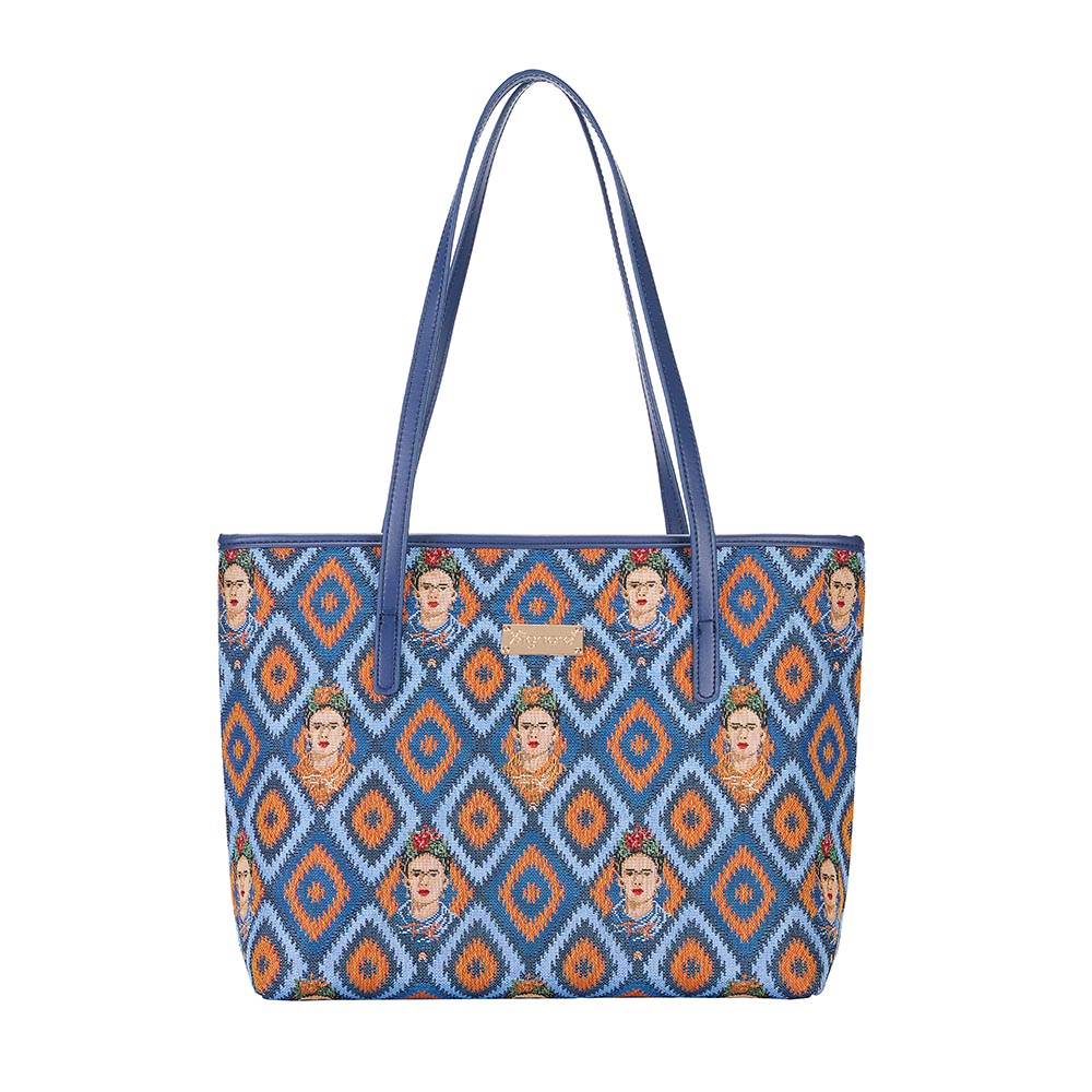 Frida Kahlo Icon Shoulder Tote Bag | Blue College Handbag | COLL-FKICON