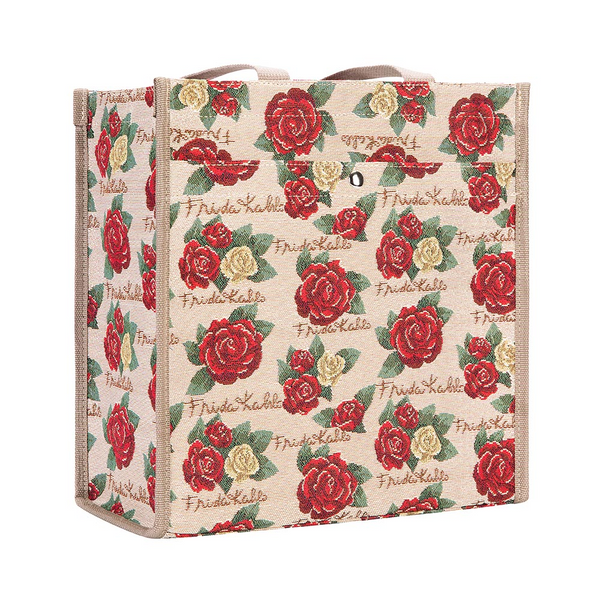 Frida Kahlo Rose Shopper Bag | Floral Tapestry Foldable Tote | SHOP-FKROSE