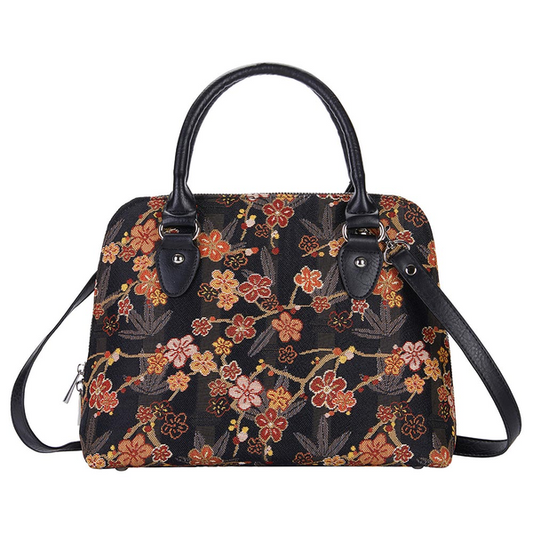 Ume Sakura Top-handle Shoulder Bag | Black Tapestry Handbag | CONV-SAKURA