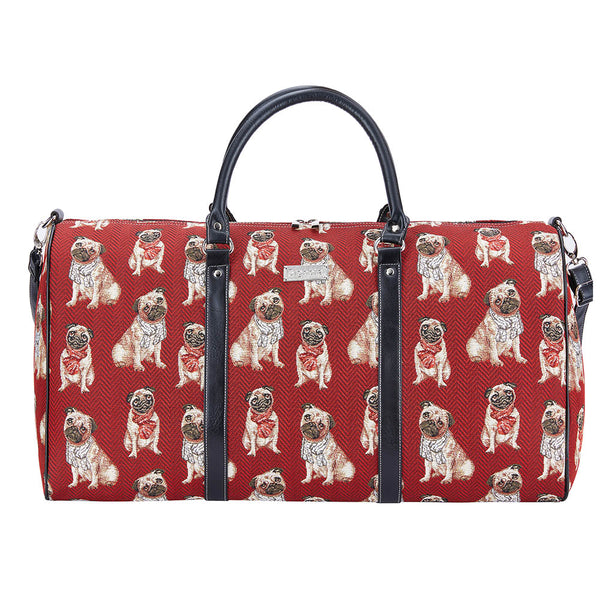 Pug Big Holdall | Cute Dog Design Tapestry Travel Weekend Luggage | BHOLD-PUG