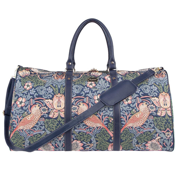 William Morris Strawberry Thief Blue Big Holdall | Floral Art Ladies Holdall | BHOLD-STBL