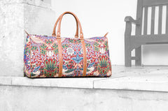 William Morris Strawberry Thief Red Big Holdall | Floral Tapestry Weekend Bag | BHOLD-STRD