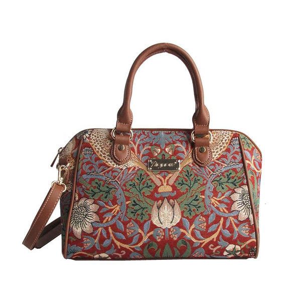 William Morris Strawberry Thief Red Bowler Bag | Floral Art Tapestry Handbag | BOWL-STRD