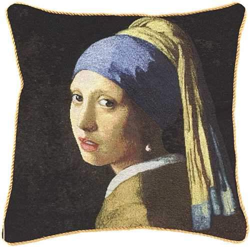 Girl with a Pearl Earring Tapestry Cushion Cover | Art Cushions 18x18 inch | CCOV-ART-JV-GIRL