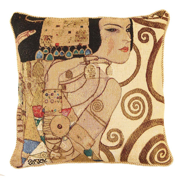 Klimt Tree of Life Lady Cushion Cover | Tapestry Art Pillow 18x18 inch | CCOV-ART-KLIMT-1