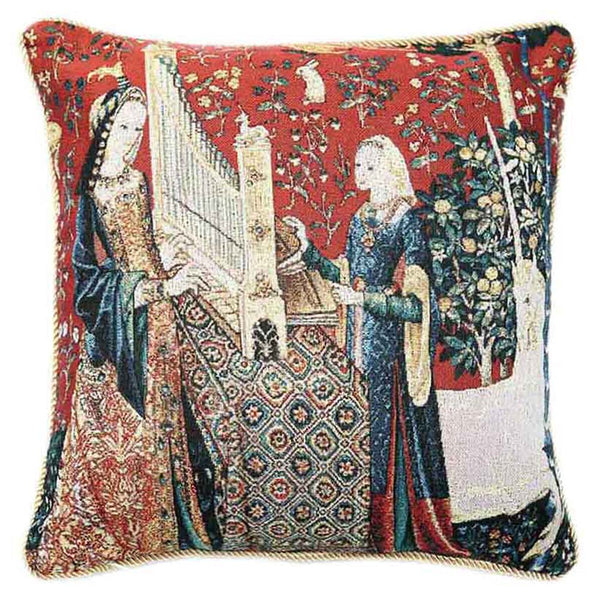 Lady and Unicorn Sense of Hearing Cushion Cover | Art Cushions 18x18 | CCOV-ART-LU-HE