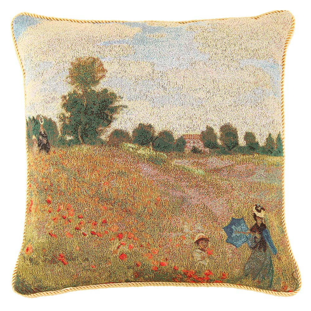 Claude Monet Poppy Field Cushion Cover | Tapestry Art Pillow Case 18x18 inch | CCOV-ART-MONET-1